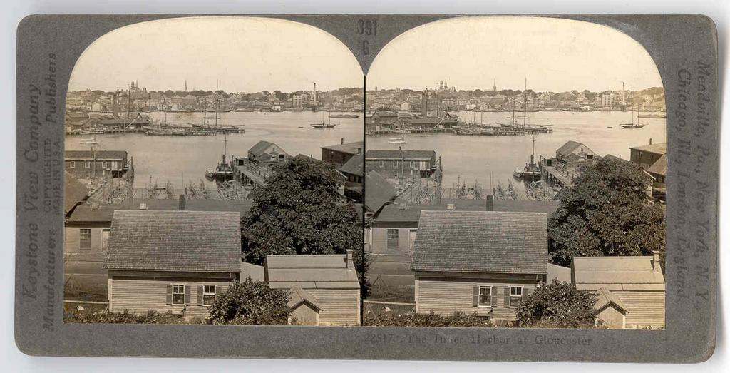 Circa 1930s Gloucester Fishing Fleet Stereo View - Gloucester Massachusetts Inner Harbor - Keystone Real Photo