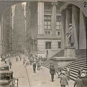 SALE Circa 1920 New York City Stereo View � Wall Street Looking West From Broad Street �Trinit