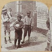 SALE 1892   Victorian Stereo View - African American and White Street Boys Playing Together �