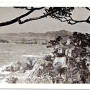 SALE 1930s Montery Bay, California Real Photo Postcard � Monterey Bay Coastline � Spanish-Styl