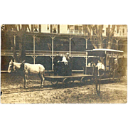 RARE c1910 Vintage Street Railway Real Photo Postcard -  Mule-Drawn Freight and Passenger Stre