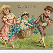 Vintage c1910 VICTORIAN CHILDREN High-Gloss Chromolithograph Postcard �CZECH-BOHEMIAN Slavic L