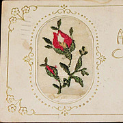 SALE Rare 1918 Red Rose Needlepoint Easter Greeting Red Rose Postcard � Brooklyn New York Post