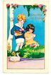 Vintage Early 20th C Whitney-Made Postcard - Embossed Art Deco CHILDREN Chromolithograph - Boy & Girl, Easter Eggs & Duck Pond - Easter Greeting - Unposted