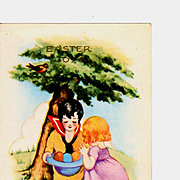 Vintage Early 20th C Whitney-Made Postcard - Embossed Art Deco CHILDREN Chromolithograph � Boy
