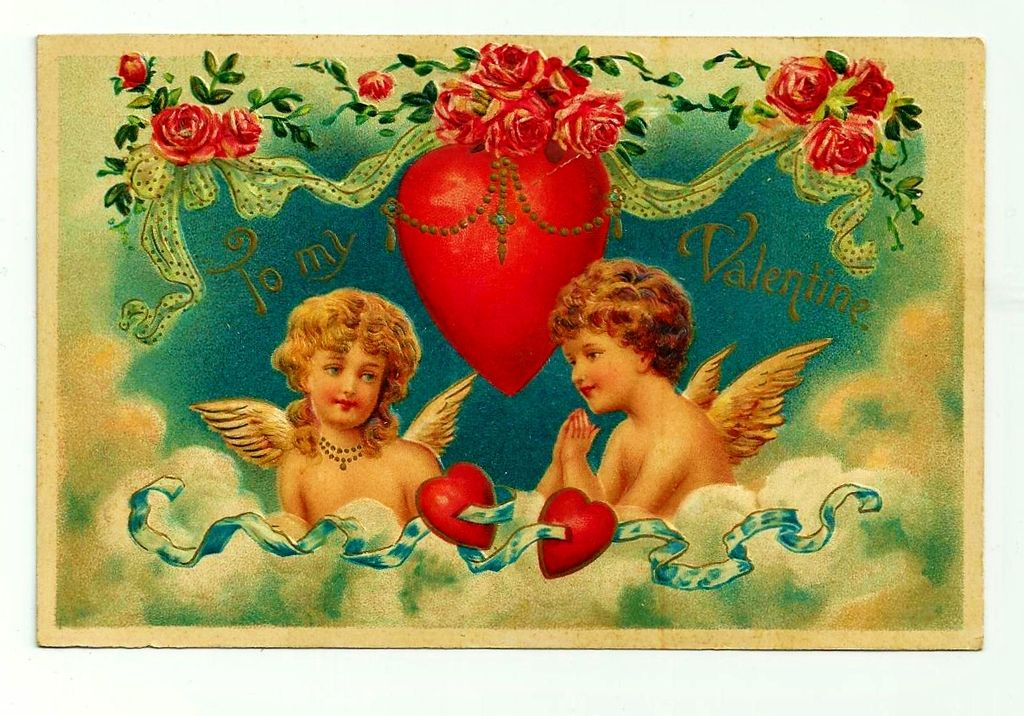 Vintage c1909 German Color Lithograph Valentine Postcard – Heavily Embossed - Blonde Girl and Brunette Boy Cupids in a Cloud – Addressed and Un-posted