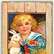 SALE c1910 Easter Greeting Embossed Postcard - Victorian Boy in Sailor Suit Holding White Rabb