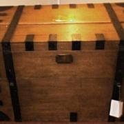 SOLD Vintage Antique Sea Captain�s Chest in Iron-Bound Oak - Very Large (Circa 1850-1900)