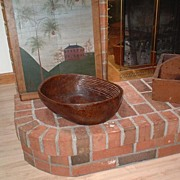 SOLD Antique Hand Carved Wooden Laundry Washing Bowl - Carved Washboard Ridges (Late 18th - Ea