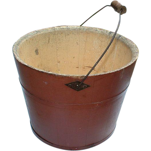 Vintage Shaker Red Wooden Bucket and  Sap Bung - Mount Lebanon, New York Shaker Community
