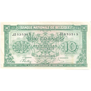 World War II Wartime Belgium Paper Currency in Almost Un-circulated (AU) Condition - 1943 Belg