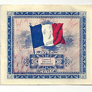 World War II Allied-Occupied France Wartime Paper Currency in Almost Un-circulated (AU) Condit