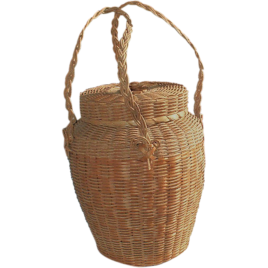 Woven Yarn Basket : Iroquois native american indian vintage hand woven