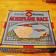 "SALE Rare No. 60  ""Mac"" Whirling Aeroplane Race  Game With Original Box �   Manufact"