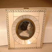 Circa 1830-1865 Vintage Miniature Painting  - Water Color on Ivory  in Ivory Veneer Frame -  G