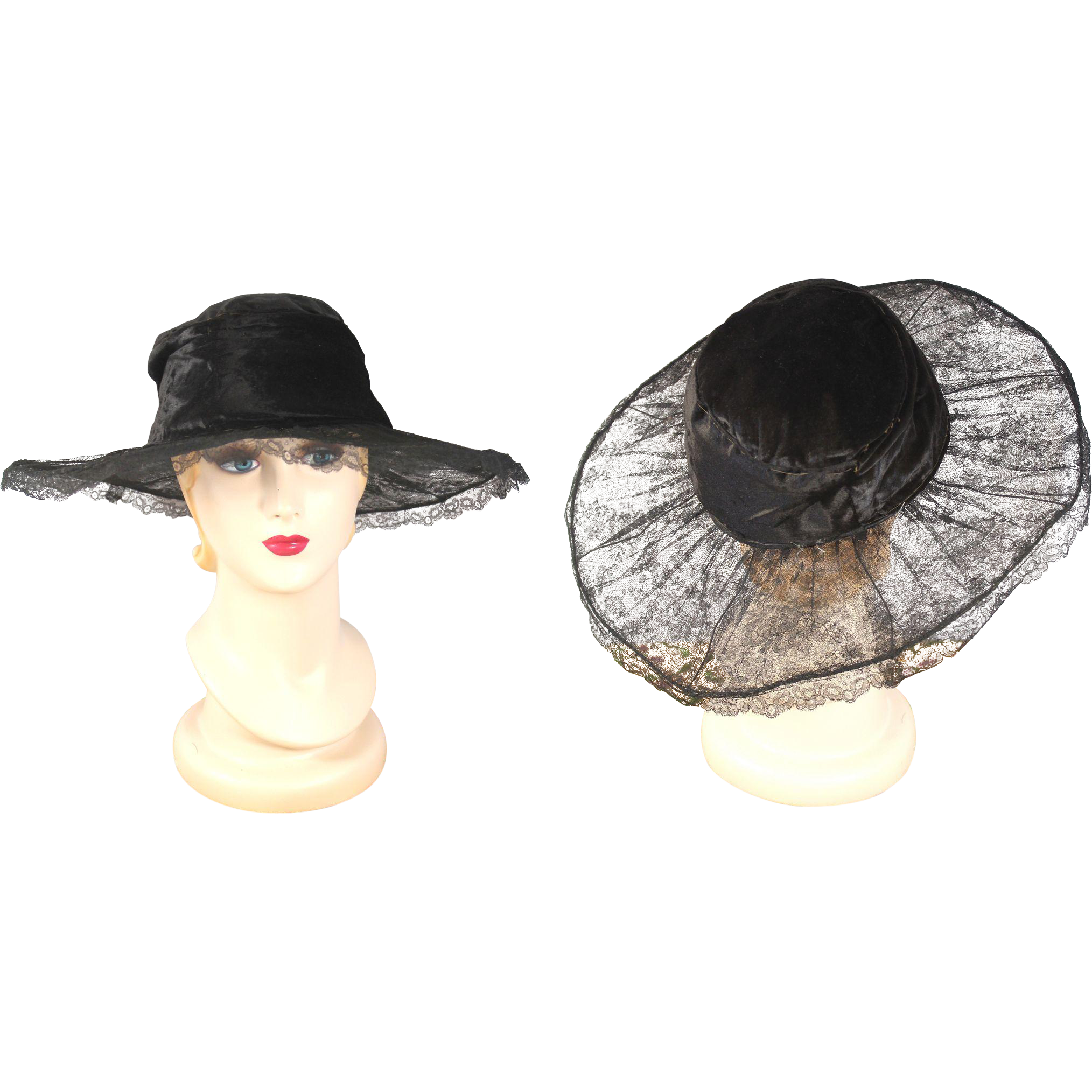 1920s Cloche Crown & Black Lace Transparent Wide Brim Hat from cur io on