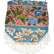 Antique Victorian Micro-Beaded Purse w/Blue Roses & Oak Leaves