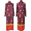 Vintage 70s Valentino Plum & Gold Silk Paisley Caftan or Hostess Gown S