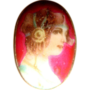 Early 20th C Antique Handpainted Portrait Miniature Stick Pin