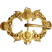 Late Victorian Classical Revival Gilt Rpouss Sash or Hat Buckle