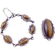 Vintage 40s/50s Atlas Tigers Eye Scarabs & GF Bracelet/Brooch Demi-Parure