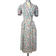 REDUCED Vintage 30s/40s Cornflower Print Feedsack Housecoat Dressing Gown or Robe XS/S