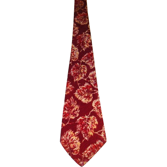 Vintage 40s &quot;Windsor Cravat&quot; Wine Leaf  Print Wide Tie