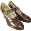 Deadstock Vintage 20s/30s Art Deco Brown Leather Porter�s Brogues Pumps