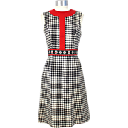 Vintage 60s/70s Ned Gould Black & White Herringbone Sheath Dress