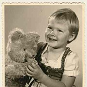 Girl with huge Teddy Bear Vintage Photo from Austria