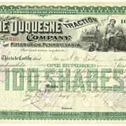 The Duquesne Traction Company. Antique Stock Certificate from 1891