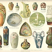 Ceramic Objects: Old chromo lithograph from 1902