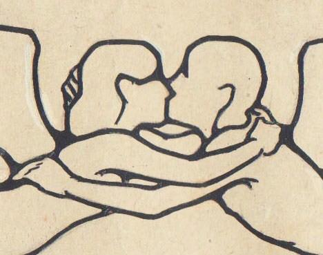 the kiss art nouveau drawing