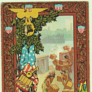 Embossed Patriotic Postcard with Indians. 1906