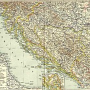 Antique Map. Bosnia, Dalmatians, Croatia�.1898