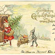 Happy New Year: Antique Postcard with Dwarf