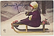 Lovely Xmas Postcard: Little Girl on Sledge