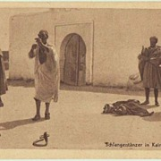 Ad with Snake Charmes in Tunisia: Vintage Postcard 1934.