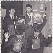 The Beatles with Golden Records: Vintage Postcard from the 1960s. Authentic.