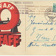 Pfaff Sewing Machine Postal Card. Ad from 1934