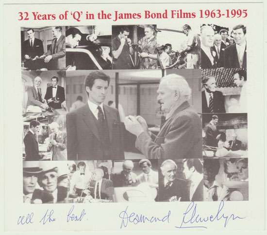 James Bond. Desmond Llewelyn Autograph on Special Print.