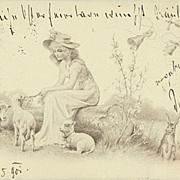 Happy Easter. Vintage Postcard Lady with Lambs and Bunnies. 1901