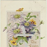 Vintage Easter Postcard, embossed. Flowers and Cross.