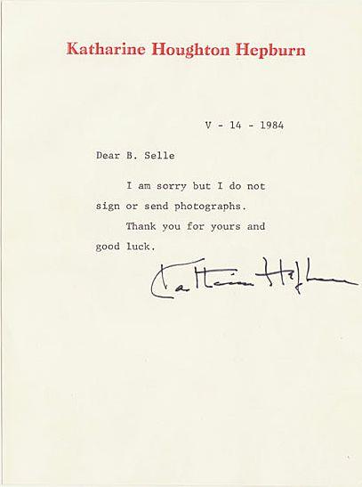 Katharine Hepburn Autograph