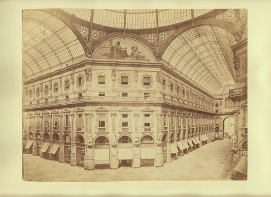 Antique Photo Galleria Vittorio Emanuele II in Milan Italy