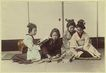 Japanese Girls. Tinted Albumen Photo. 1880s