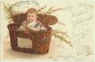 Funny Postcard: Girl in a Basket. Lithographed, 1899