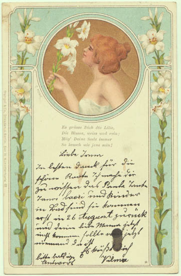 Art Nouveau Postcard: Lady with Lilies. 1900