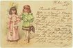 Cute Postcard from 1900 with 2 Girls dress up in ancient Costumes