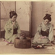 Japanese Albumen Photo: Ladies at Tea Ceremony. 1880s